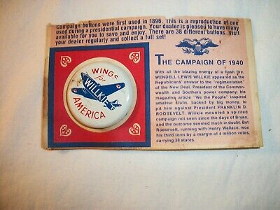 Replica Campaign Button- Wendell  Lewis Willkie  1940