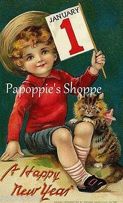 Vintage New Years Postcard Fabric Block