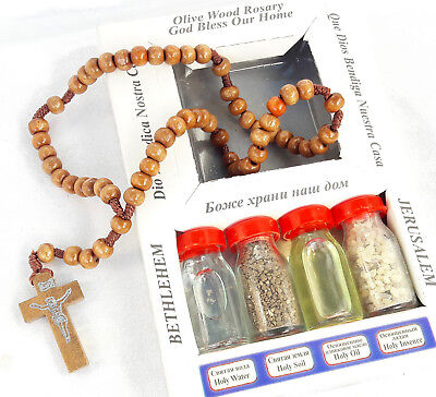 Olive Wood Cross Holy Water Oil Frankinsence  Holy land