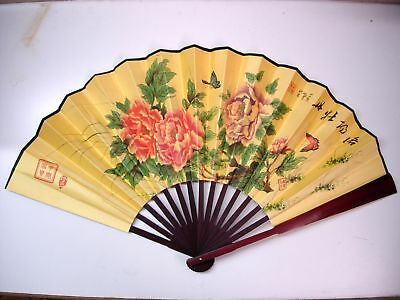 Spun Silk Hand Fan 2 Sides Chinese Painting&Calligraphy, Peony