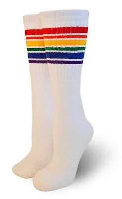 "Pride Socks Baby/Toddler 10"" Rainbow Striped Tube Socks CUTE! T1-10"