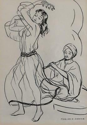 MARIAN D HARRIS Listed BELLY DANCER Ink Drawing c.1960
