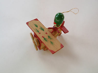 Vintage Handcrafted Hand Painted Wood Wooden Airplane Pilot Xmas Ornament Rustic