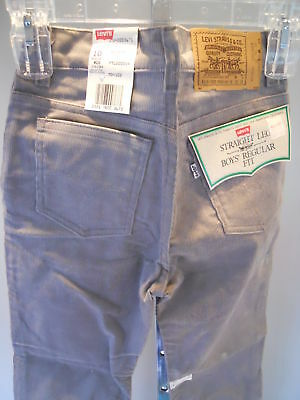 Nos Vintage 1970s Levis Straight Leg Gray Corduroys Pants Slacks Retro Youth 10