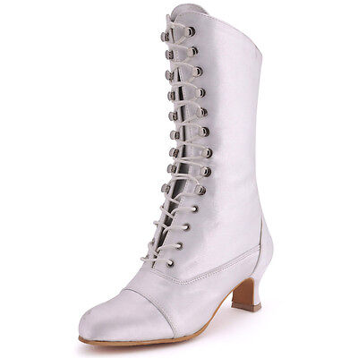 MB-039 Closed Toe Lace-up Knee-high Mid Chunky Heel Party Bridal Wedding Boots