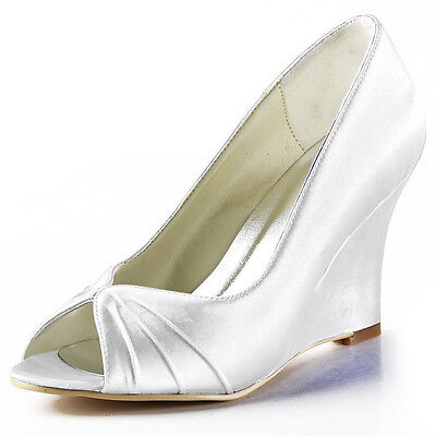 EP2009 Women Blue Peep Toe Bridal Party Wedge Heels Pleat Satin Wedding Shoes