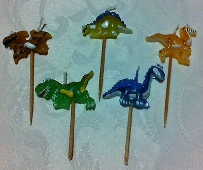 Dinosaur Party Suppplies - Candles 5 pack on picks