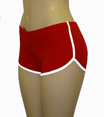 Red Retro Shorts with White Trim Small