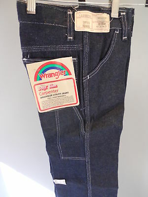 Nos Vintage 1970s Old Wrangler Carpenter Utility Blue Jeans Boys 10 Slim 23 x 25