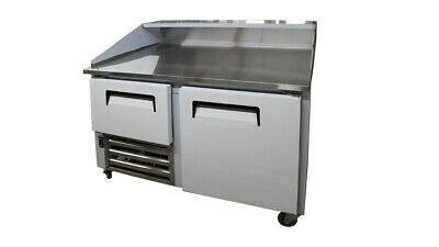 """48"""" New US-Made Two (1-1/2) door Refrigerated Dough Retarader pizza prep table"""