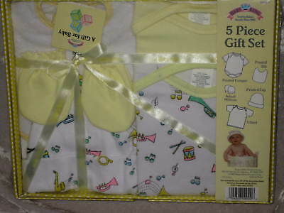 5 pc Layette Set Baby T-Shirt Cap Mittens Bib Yellow NEW!