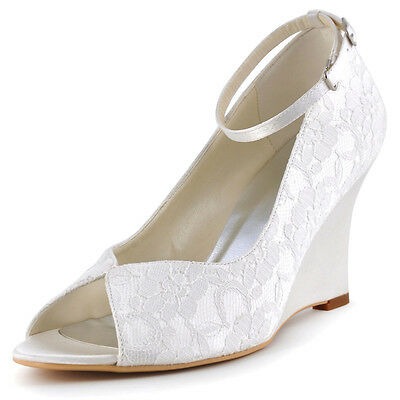 WP1415 Ivory Peep Toe Wedges Buckles Strap Pumps Lace Bridal Party Wedding Shoes
