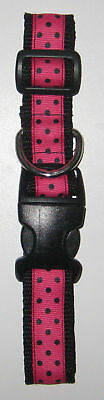 1 inch Pink with Black Dots Adjustable Nylon Pet Dog Collar New 3 Sizes