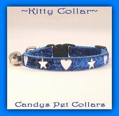 """Blue Sparkle  With Shiny Stars & Hearts Cat-Kitten Collar 9"""" & Bell"""