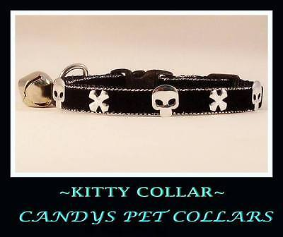 BLACK VELVET METALIC SKULLS & X-BONES CAT-KITTEN COLLAR 9 inch WITH BELL