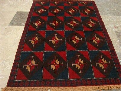 BALAUCHI TRIBAL NOMADIC AFGHAN HAND KNOTTED RUG 4.4x3.0