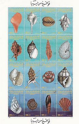 stamps LIBYA 1985 SC-1257 SEE SHELLS MNH SHEET OF 16 SET SOME CORNER CREASES