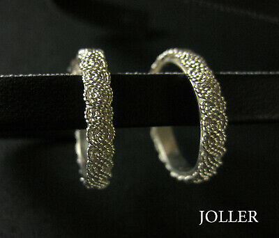 HOOP EARRINGS 17mm FILIGREE HANDMADE SILVER 925 PLATINUM BY JOLLER