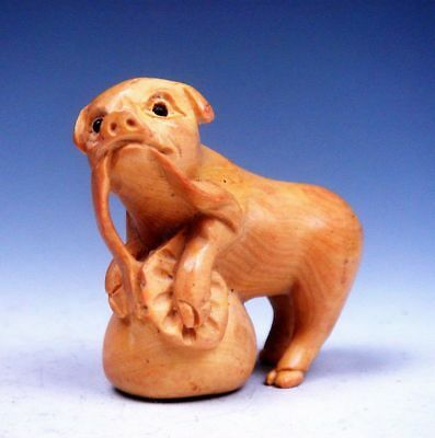 Japanese Boxwood Hand Carved Netsuke Sculpture Cute Piggy On Big Bag