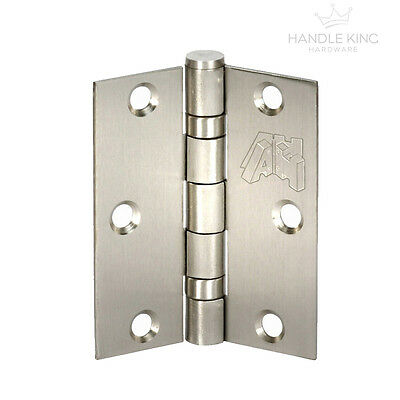 Satin Stainless Steel Double Ball Bearing Butt Hinge Pairs(2) Fire Rated 3 Inch