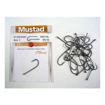 Mustad Signature Fly Hooks O'shaugnessy Size 2 Qty 25