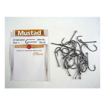 Mustad Signature Fly Hooks O'shaugnessy Size 1 Qty 25
