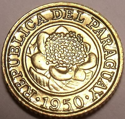 Gem Unc Paraguay 1950 Centimo~Last Year Ever Minted~Flower~Free Shipping
