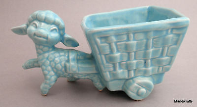 McMaster Lamb Cart Planter Art Pottery Canada Baby Blue Nursery Cache c1940s