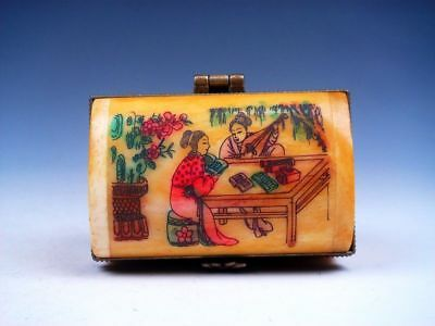 Bone Hand Crafted Overlay Lady Musician Hand Painted Snuff Trinket Box Decor #G8