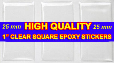 """1000 QTY - HIGH QUALITY 25mm 1"""" SQUARE EPOXY STICKER Dome Pendant Resin Seal"""