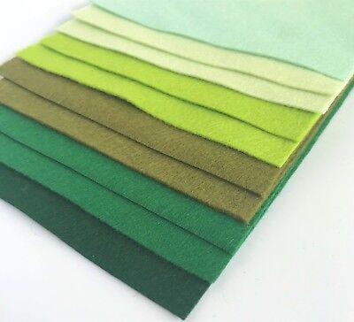 Wool Mix 9 inch Felt Squares x10 Green Collection - Soft Craft Felt Bundle