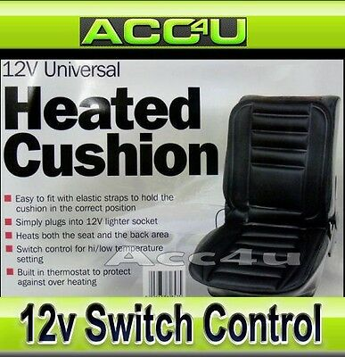 12v In Car Van Lighter Plug Black Front Single Seat Cover Thermal Heated Cushion