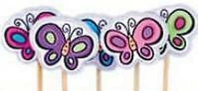 """Girl Birthday Party Supplies - Butterfly """"Tutti"""" Party Candles 5 pack"""