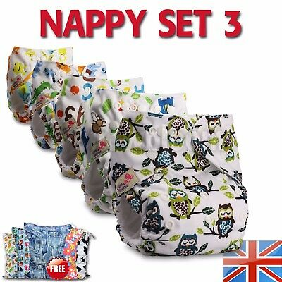 3 Washable Reusable Pocket Standard Cloth NAPPY Diaper + 6 Microfibre inserts