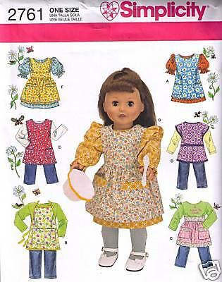 """18"""" Doll Clothes & Aprons Pattern Simplicity 2761"""