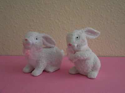 Set of 2 Adorable Easter Bunny Figures Spring Rabbits