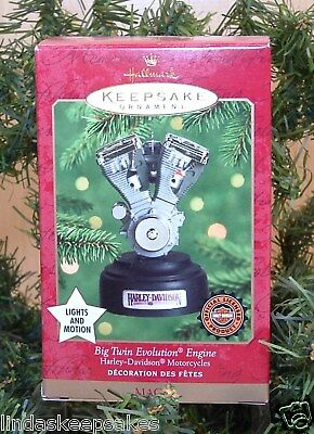 "2000 Hallmark ornament HARLEY DAVIDSON ""BIG TWIN EVOLUTION ENGINE"" never used"