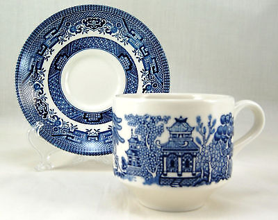 Churchill WILLOW - BLUE Large Flat Cup and Saucer Set 2.875 in. England Chinese