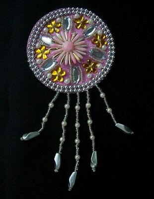 SB163 Fringed Round Rhinestones Beaded Jewelry Applique