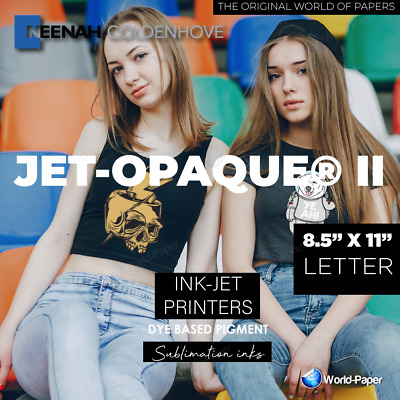 "Jet Opaque II T-shirt Inkjet Dark Iron On Transfer Paper 50 Pk 8.5"" x 11"" :)"