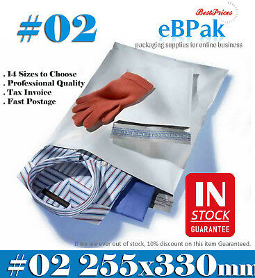 2000x Poly Mailer #02 255x330mm Courier Bag Self Sealing Mailing Satchel