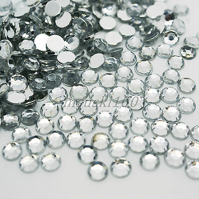 1000 Crystal Clear Rhinestones Acrylic 4mm Gems Diamond Round Silver Flat Back