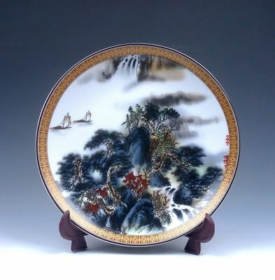 *Ship From U.S* Famille-Rose Scenery Mountain Painted Porcelain Plate QianLong