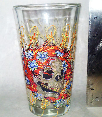 Ed Hardy Classic Signature Hippy Red Head Pint Glass