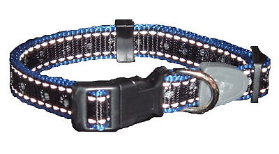 Reflective Dog Collar BLACK Large-CHOOSE FROM 4 COLOURS