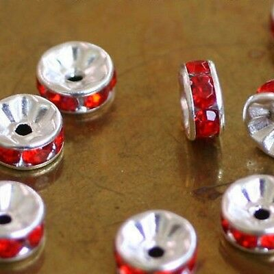 10 Perles Spacers RONDELLES Métal//Strass-ORANGE  4 x 8 mm trou central 2 mm