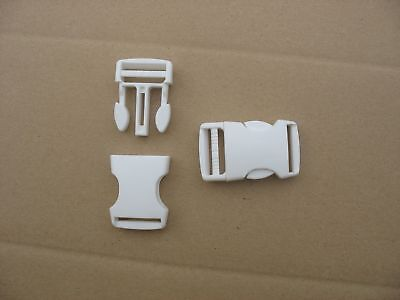 2  Boucles clic clac attache rapide larg.20 mm blanches