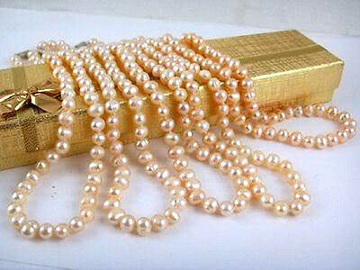 """Wholesale 5pcs 7-8mm Natural Pink Akoya Cultured Pearl Necklace 18"""""""