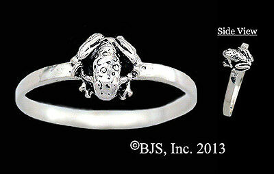 Silver Baby Frog Ring, Frog Jewelry, Your Size, New, Sterling Silver, 3D Frog
