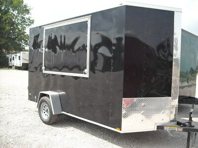 Concession Trailer 6x12  Enclosed Trailers Cargo Texas  in STOCK BLACK OR RED